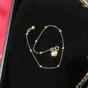 New Hexagon balls heart gold gf anklet bracelet
